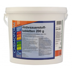 Chemoform Аквабланк О2 в таблетках (200 г), активный кислород для дезинфекции воды в бассейнах, 5 кг арт. 592005