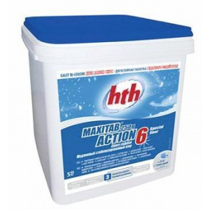 Двухслойная таблетка HTH – быстрый и медленный хлор 5 кг (4 шт. в упаковке) / K801797H1 арт. K801797H1