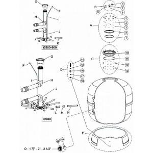 Колено верхнее для подключения диффузора фильтра Lisboa FS600 (поз. H) арт. FS16661-0410