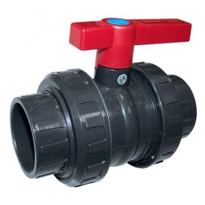 Кран шаровый 2-ходовый (клей-клей), 50 мм / Plimat