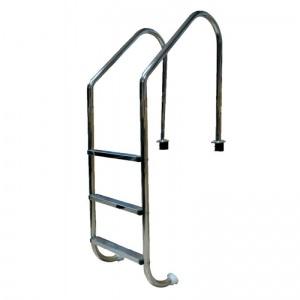 Лестница 4 ступени с накладкой люкс, нержавеющая сталь AISI-304 (широкий борт) Pool King /L204/ арт. L204