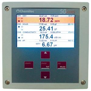 Мультипараметрический контроллер Chemitec 50 Series, Modbus-протокол, настенный монтаж, 144 x 144 мм, 4-канальный арт. 9740611010A