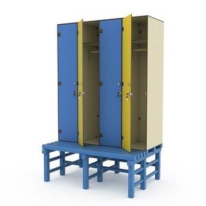 Шкаф четырехсекционный на скамье-подставке 4-1 Птк-Спорт