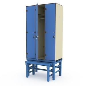 Шкаф трехсекционный на подставке с выдвижной скамьей 3-1 Птк-Спорт