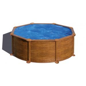 Сборный бассейн GRE Pacific круглый, Ø 460 x 120 см, 17,45 м3, со скиммером и форсункой, плёнка 0,3 мм (отделка под дерево) арт. P460W
