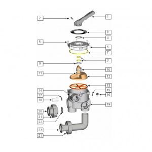 Комплект подсоединений 6-позиционного вентиля к фильтру IML PS6103/6501 (поз. 20–23) арт. PS00599-1111